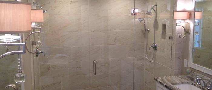 Custom Frameless Shower Door Installed