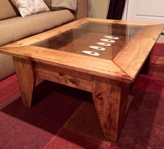 Custom Glass Table Top Over Wood Table
