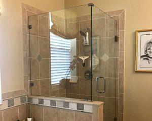 Sandblasted glass shower door
