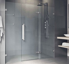 bypass sliding shower door with dark walls
