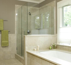 bathroom with sandblasted shower