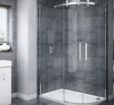 bathroom with frameless shower door