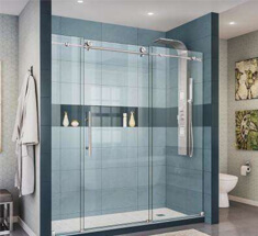 bathroom with sliding frameless shower doors