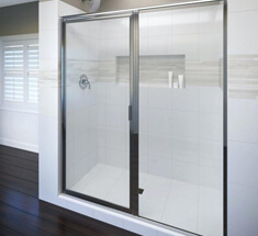 Semi-frameless shower door with black borders